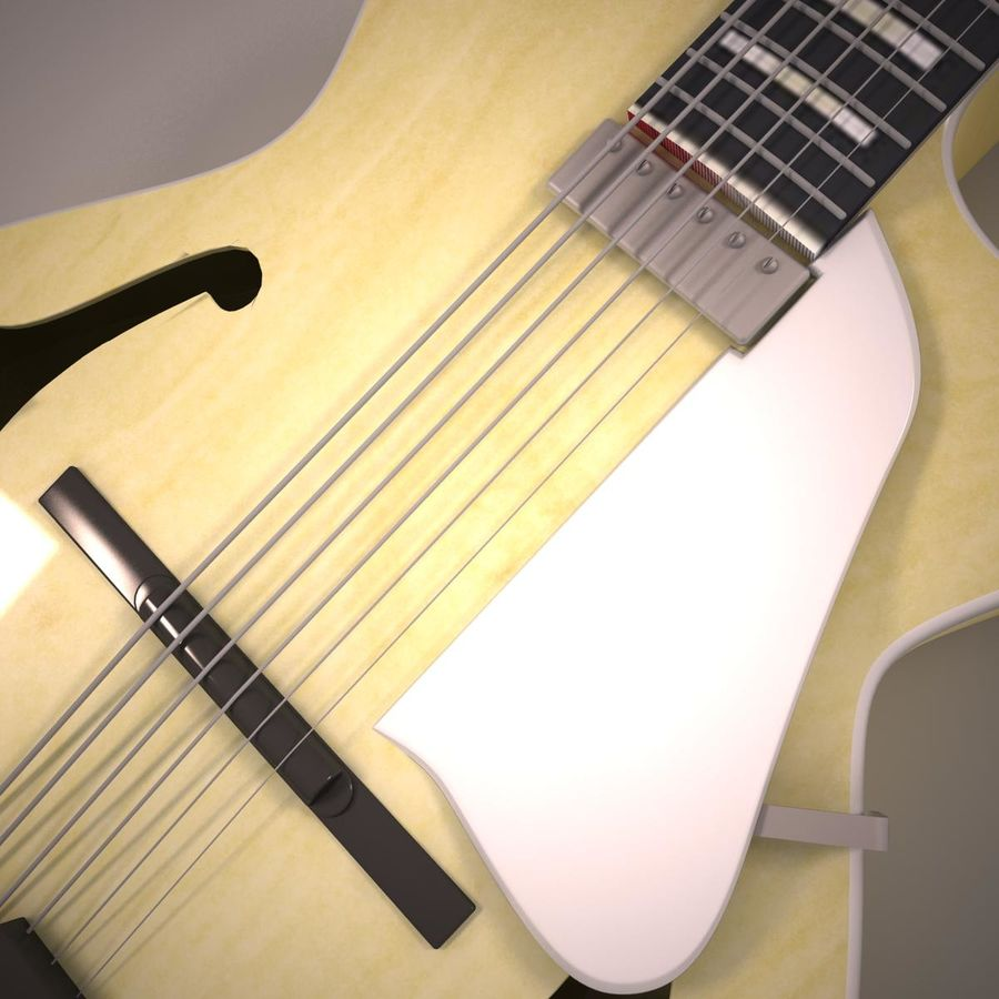 Antique Electric Guitar royalty-free 3d model - Preview no. 7