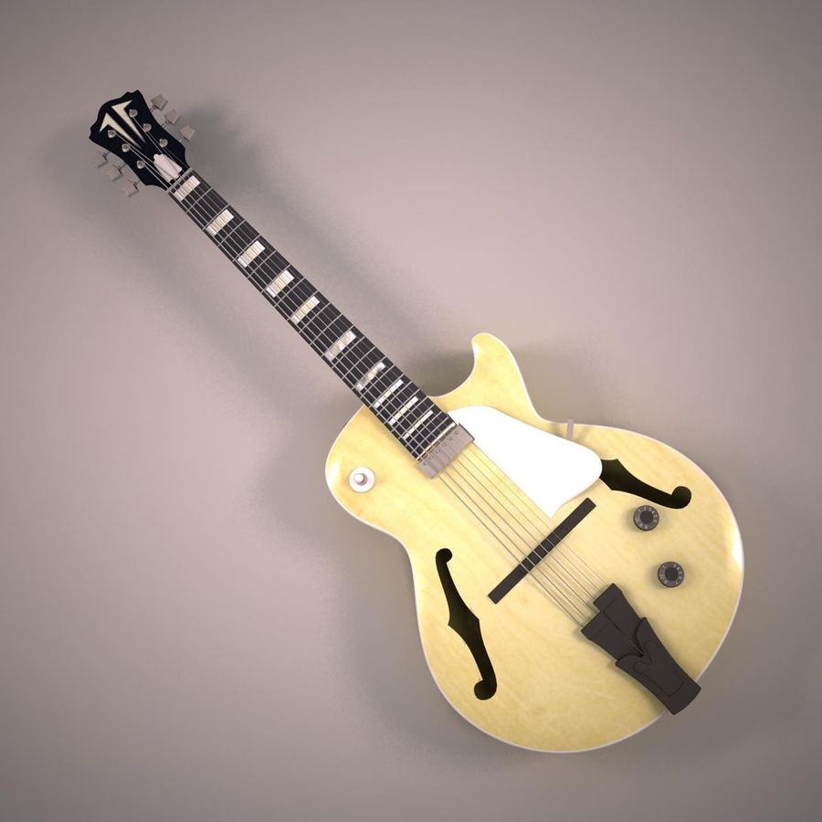 Antique Electric Guitar royalty-free 3d model - Preview no. 5
