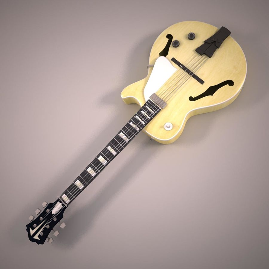 Antique Electric Guitar royalty-free 3d model - Preview no. 4