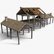 Trähus Beam Skelett Struktur skräp ruttna förstöra vrak spillror bränna förlust Ruin Skada krigsbomb förblir bruten trasig 3d model