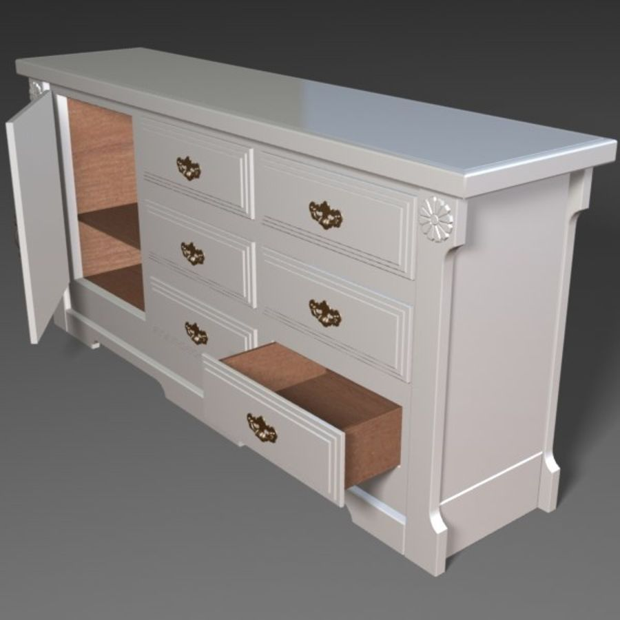 Wit dressoir royalty-free 3d model - Preview no. 3