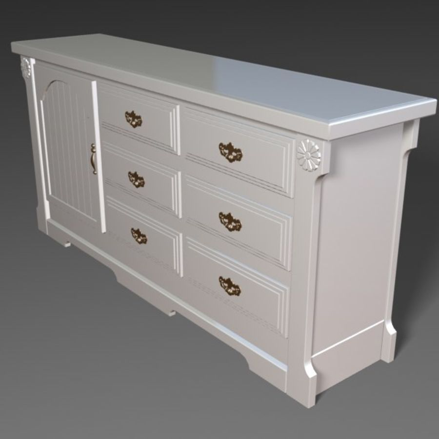Wit dressoir royalty-free 3d model - Preview no. 2