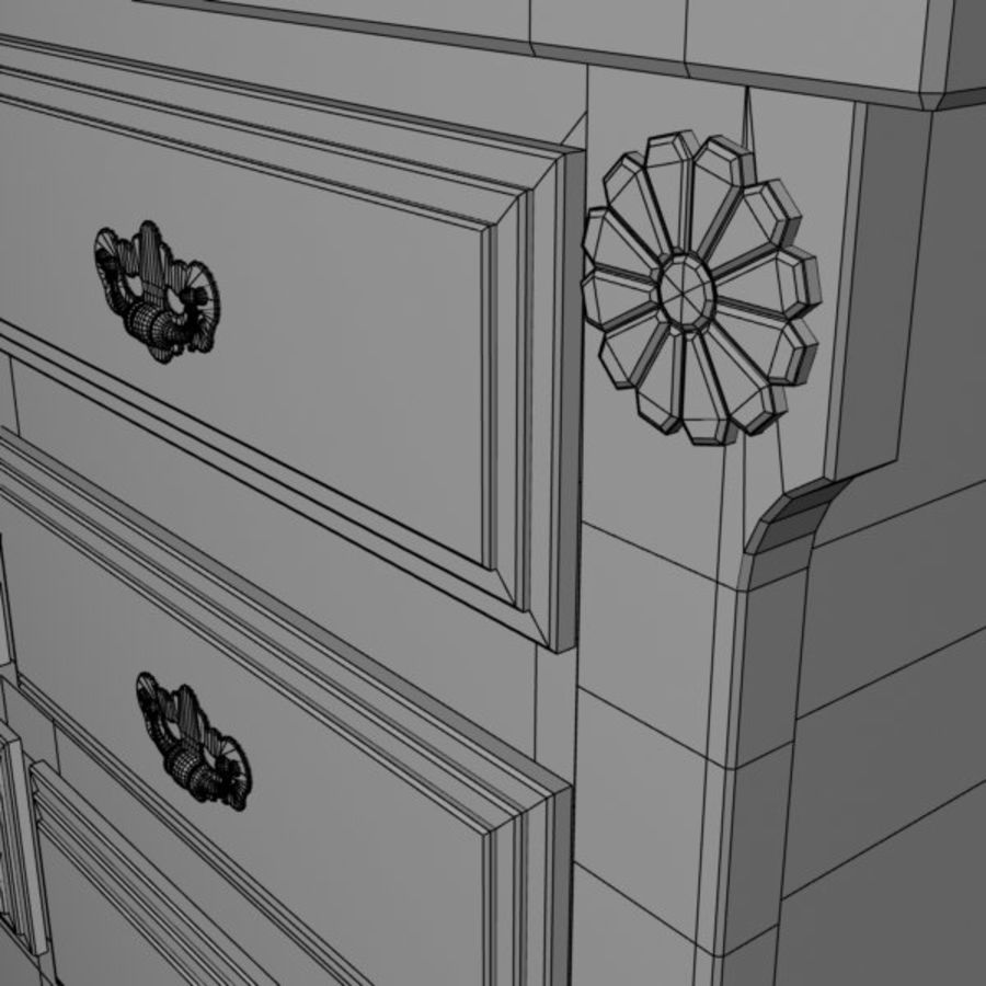 Wit dressoir royalty-free 3d model - Preview no. 7