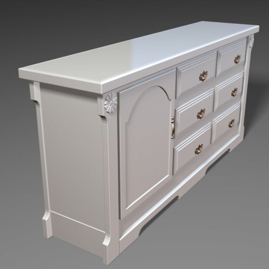 Wit dressoir royalty-free 3d model - Preview no. 5