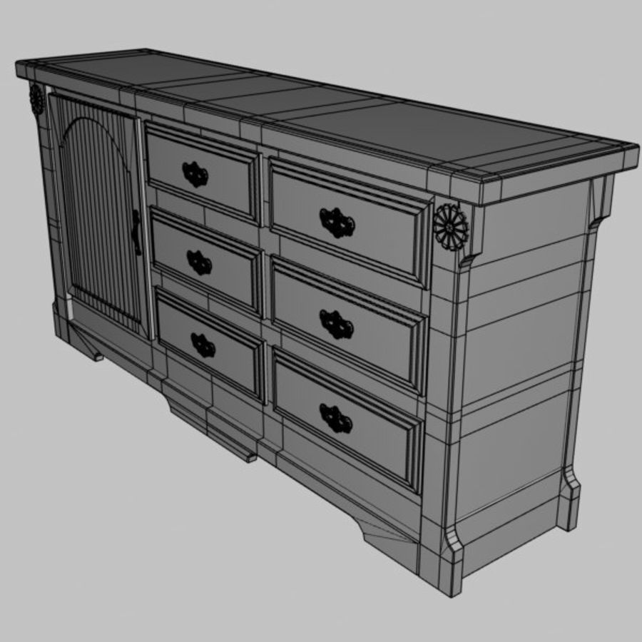 Wit dressoir royalty-free 3d model - Preview no. 6