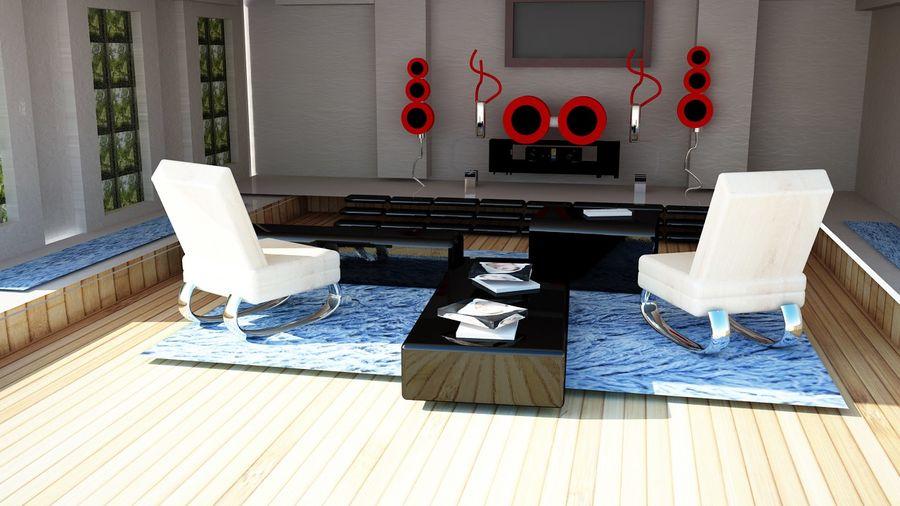 vardagsrum inredning royalty-free 3d model - Preview no. 3