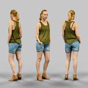 Mädchen im grünen Oberteil und in den Jeansshorts 3d model