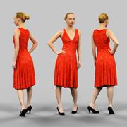 Flicka som bär lång röd klänning 3d model
