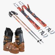 Alpine Boots Skis Poles Collection 3d model