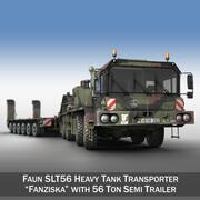 Faun STL-56 - Kraftig traktor med 52 ton semitrailer 3d model