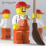 Lego Garbage Guy Figure with Broom 3d model