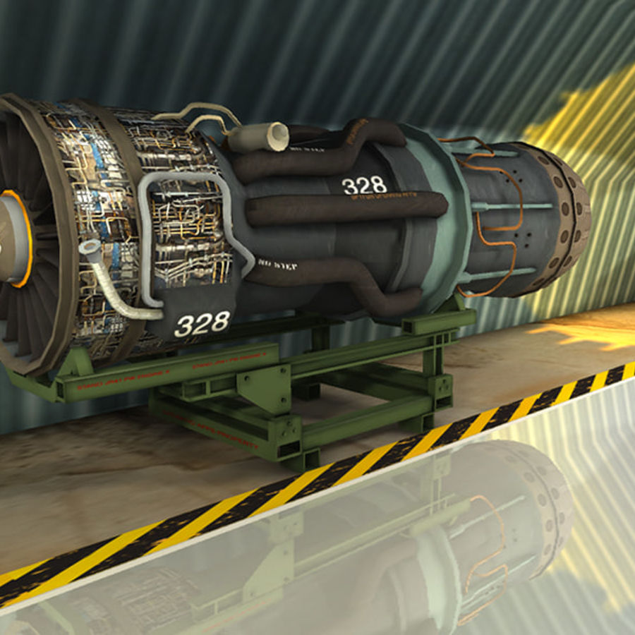 Military Jet Engine with Stand royalty-free 3d model - Preview no. 2