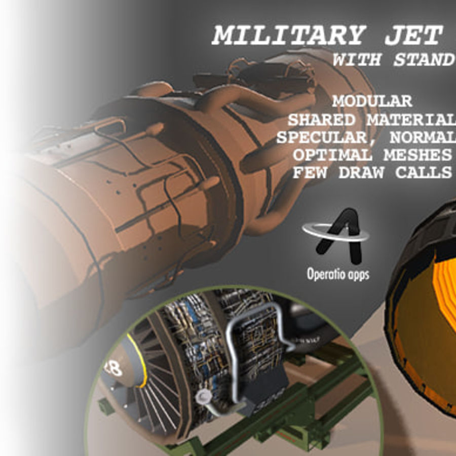 Military Jet Engine with Stand royalty-free 3d model - Preview no. 5
