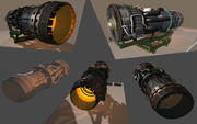 Jet Engine militare con supporto 3d model
