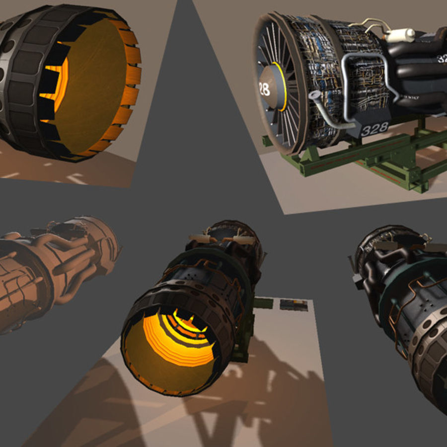 Military Jet Engine with Stand royalty-free 3d model - Preview no. 1
