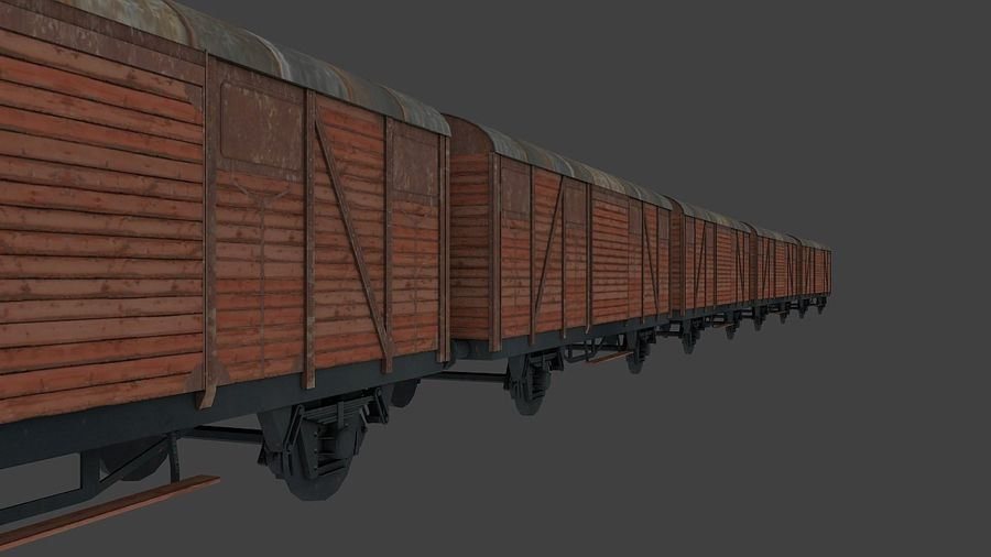 Carro merci, carico del treno. royalty-free 3d model - Preview no. 5