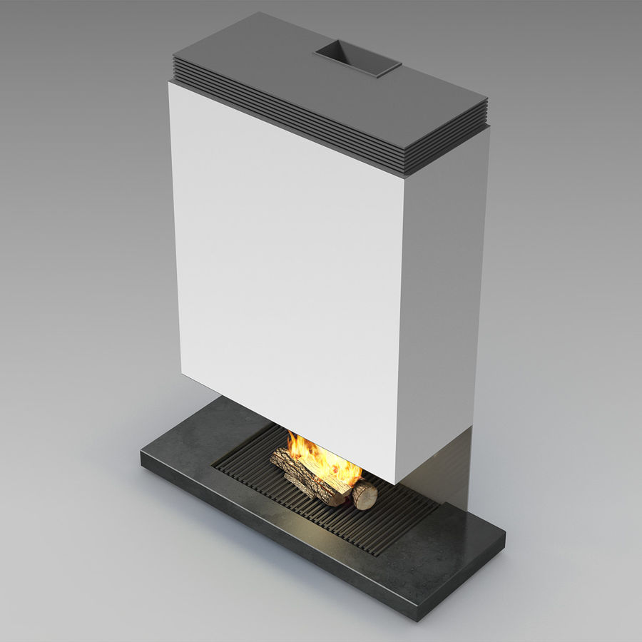 Modern Fireplace royalty-free 3d model - Preview no. 6