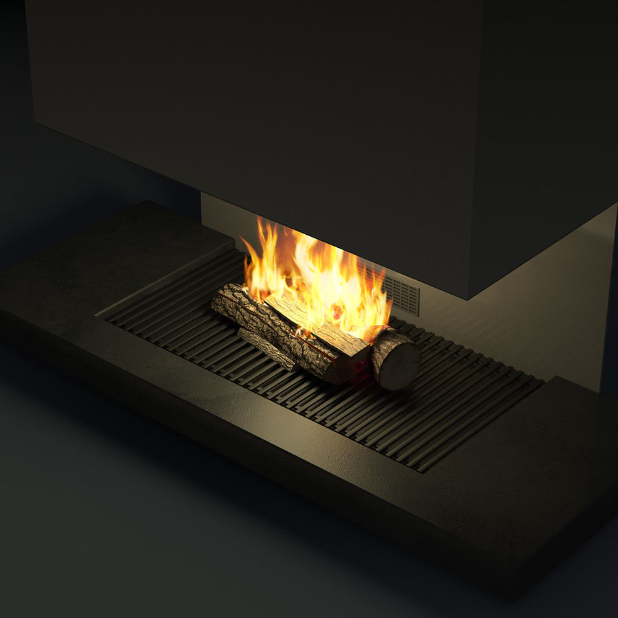 Modern Fireplace royalty-free 3d model - Preview no. 12