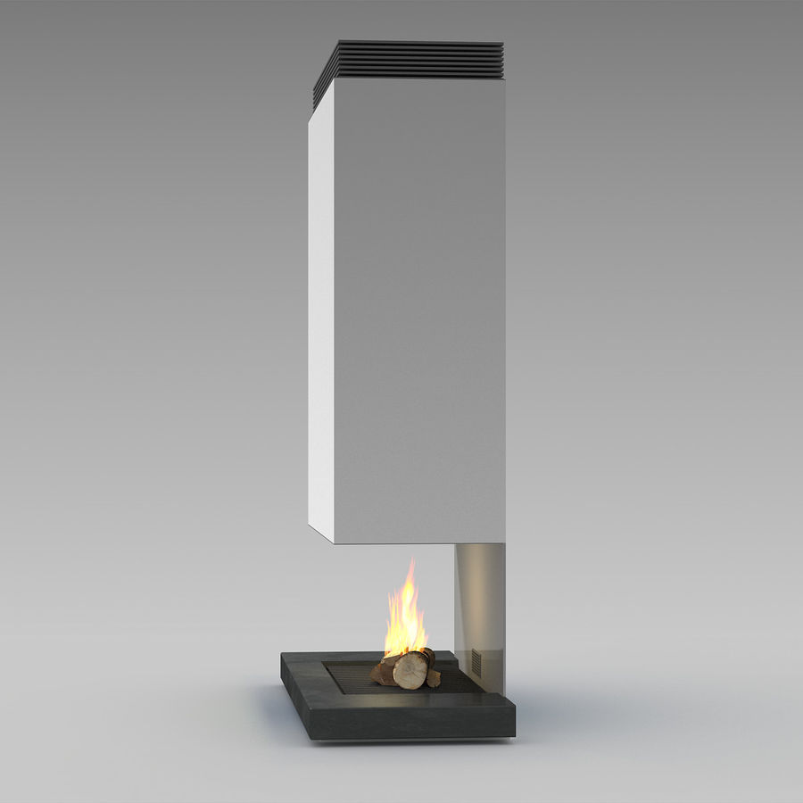 Modern Fireplace royalty-free 3d model - Preview no. 3
