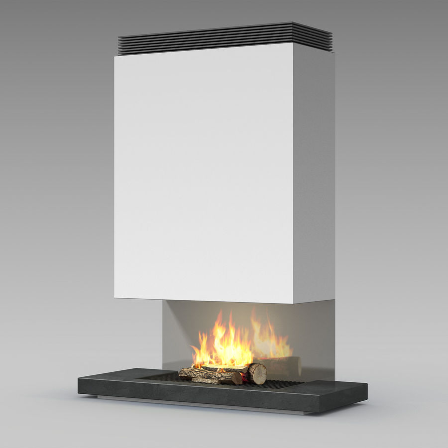 Modern Fireplace royalty-free 3d model - Preview no. 2