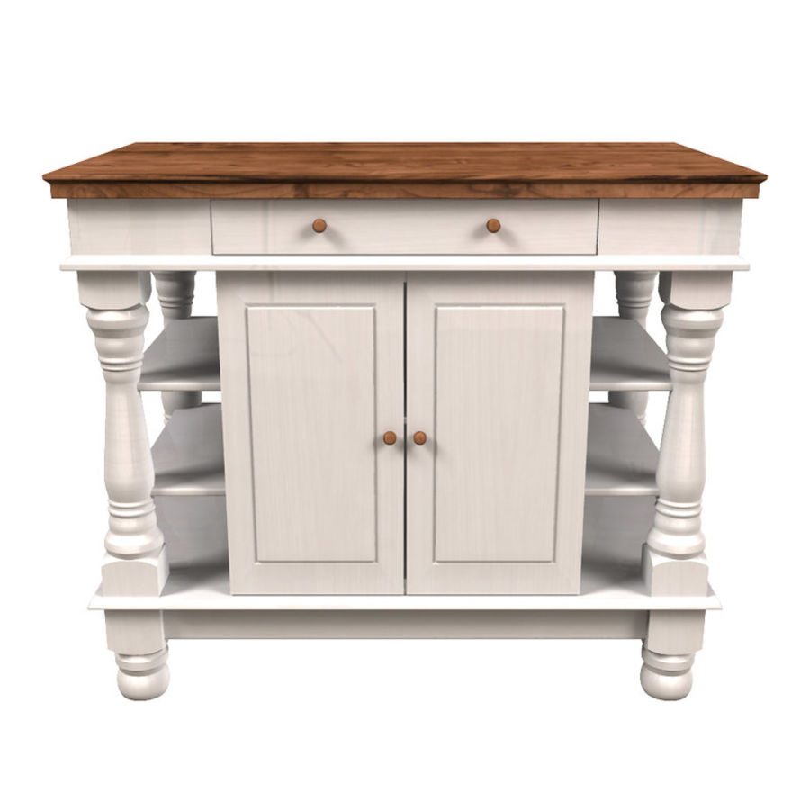 Colonial Kitchen Table royalty-free 3d model - Preview no. 3