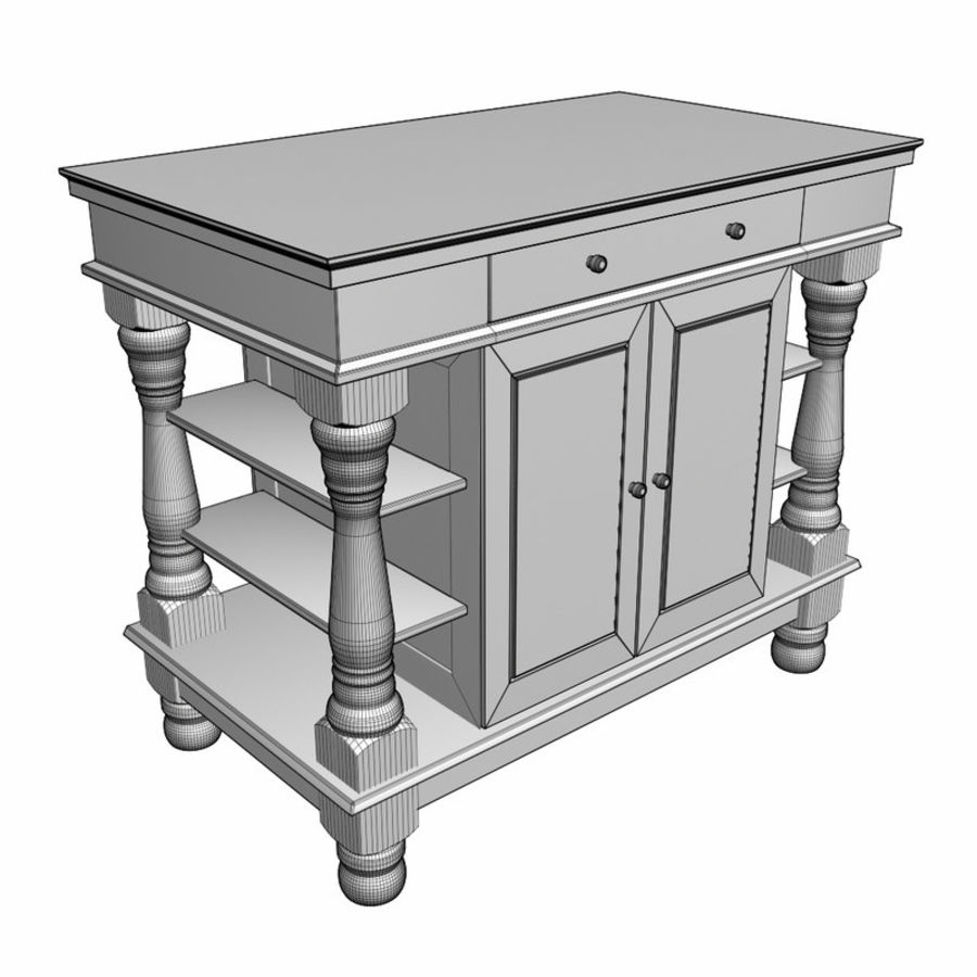 Colonial Kitchen Table royalty-free 3d model - Preview no. 2