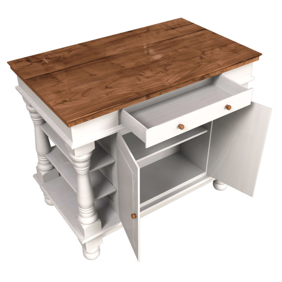 Colonial Kitchen Table royalty-free 3d model - Preview no. 5