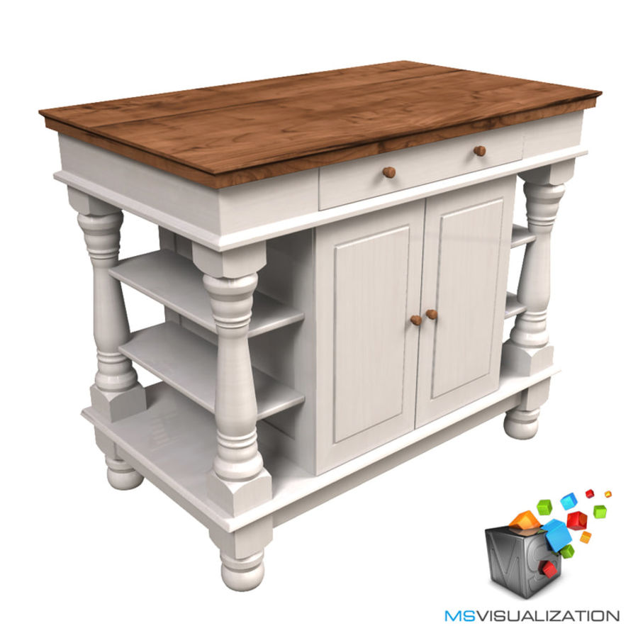 Colonial Kitchen Table royalty-free 3d model - Preview no. 1