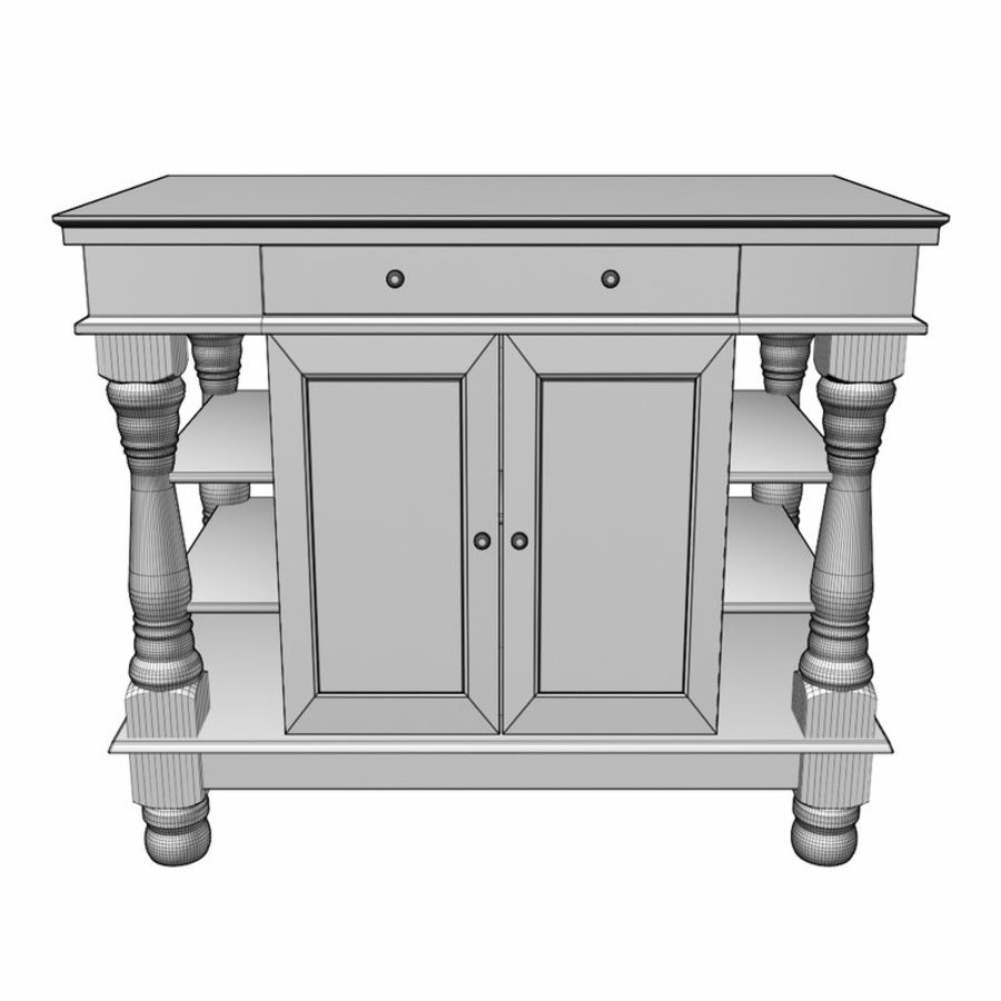 Colonial Kitchen Table royalty-free 3d model - Preview no. 4