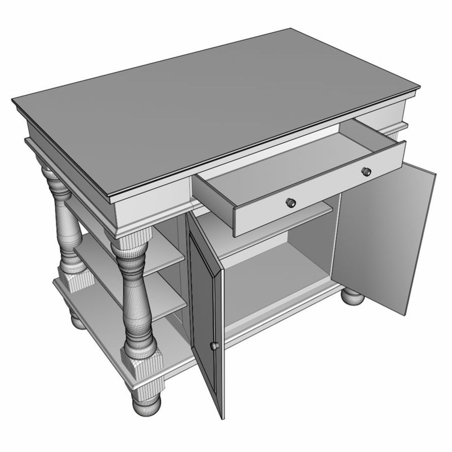 Colonial Kitchen Table royalty-free 3d model - Preview no. 6