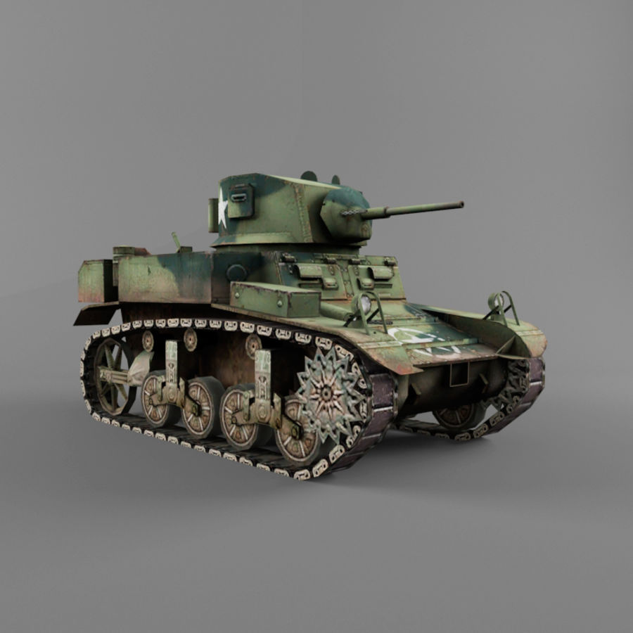 M3 Stuart royalty-free 3d model - Preview no. 7