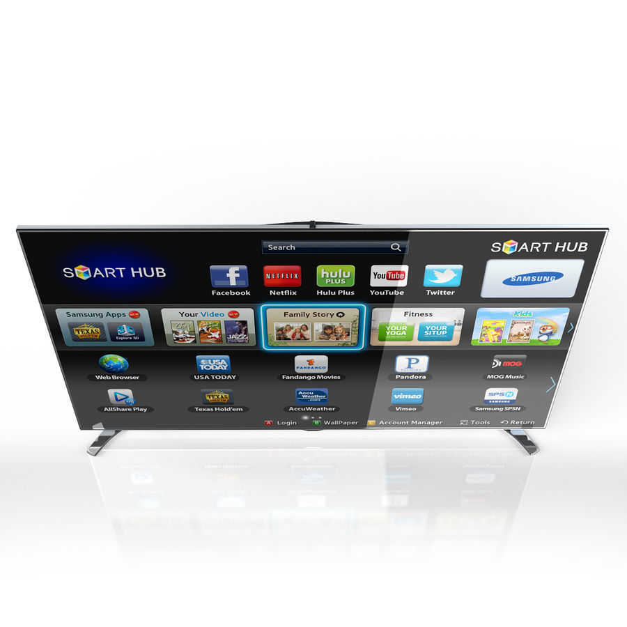 Samsung 46 inch F8000 LED SMART FULL HD TV royalty-free 3d model - Preview no. 4