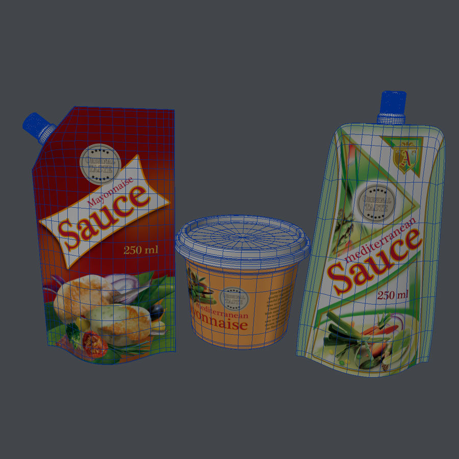 Sauce Packs royalty-free 3d model - Preview no. 9