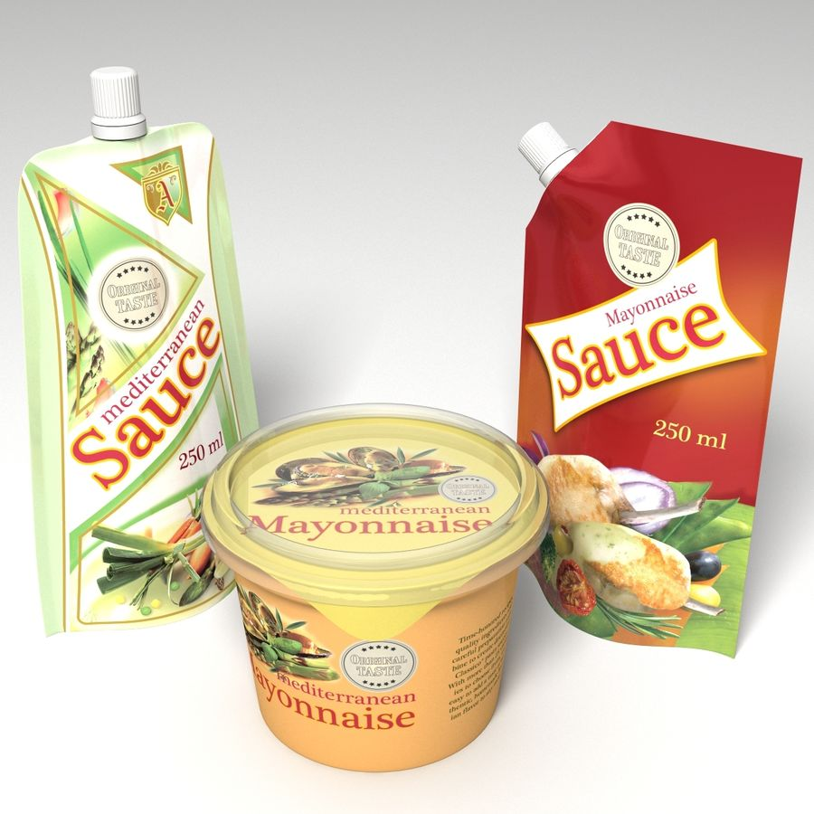 Sauce Packs royalty-free 3d model - Preview no. 1