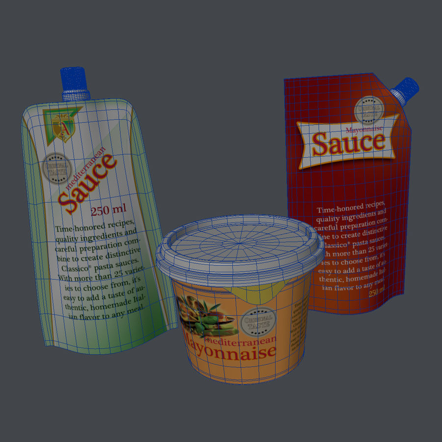 Sauce Packs royalty-free 3d model - Preview no. 10