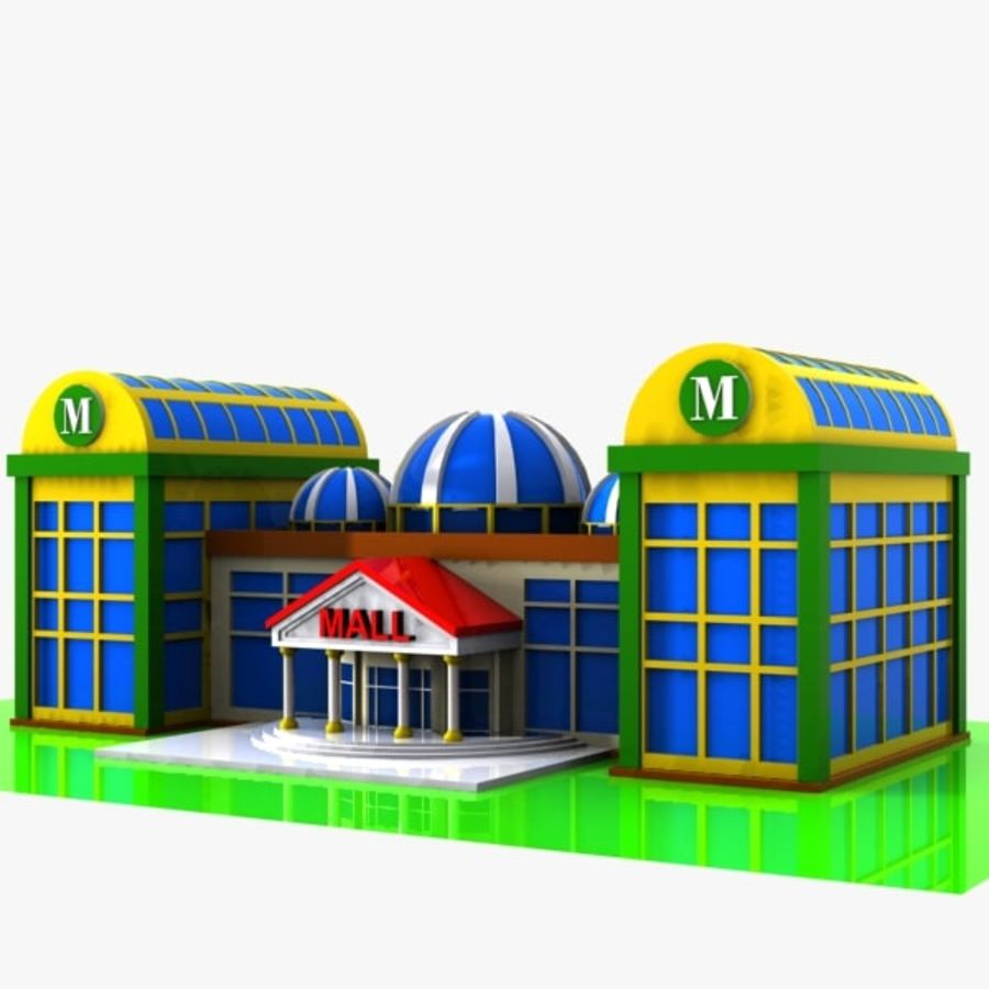 Cartoon Shopping Mall royalty-free 3d model - Preview no. 1