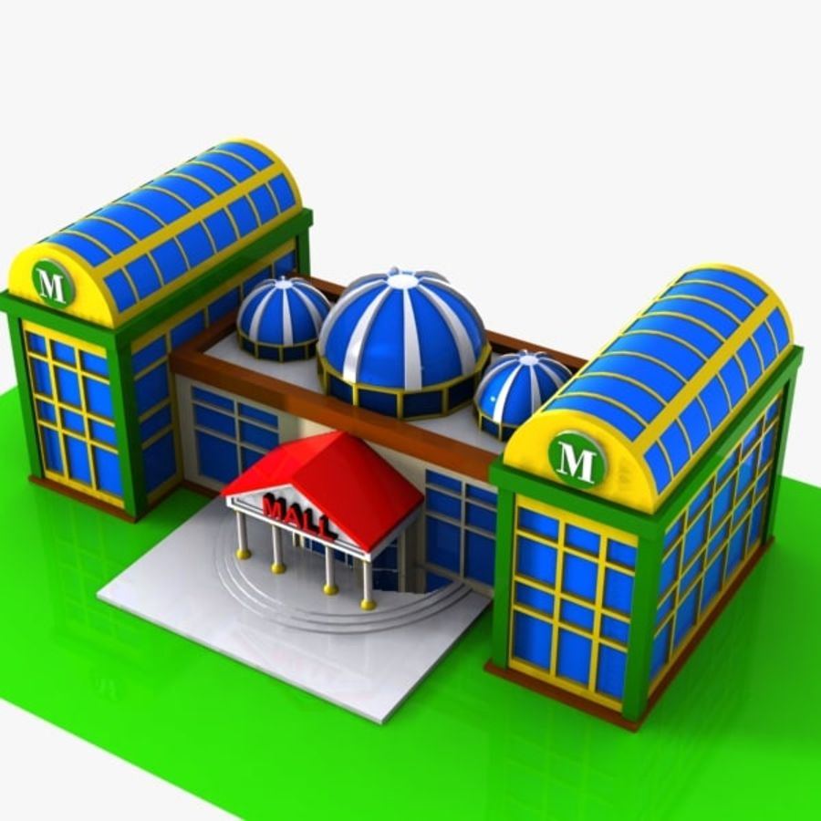Cartoon Shopping Mall royalty-free 3d model - Preview no. 4