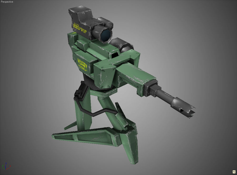 Sentry Turret royalty-free 3d model - Preview no. 8