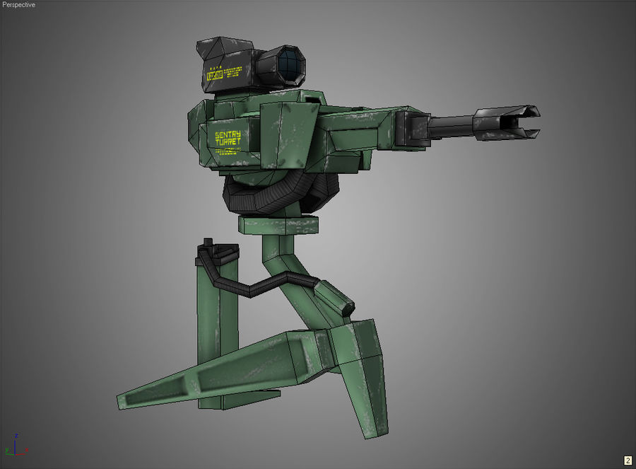 Sentry Turret royalty-free 3d model - Preview no. 7