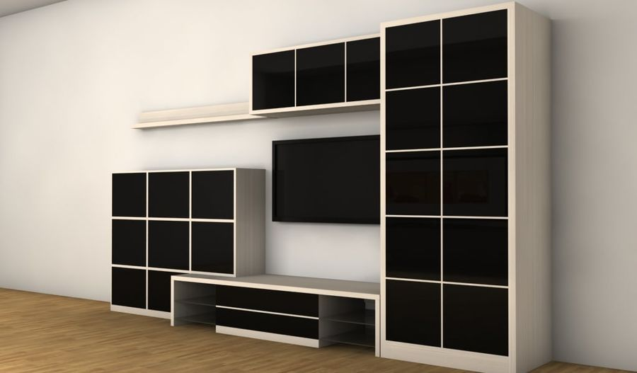 TV furniture wall royalty-free 3d model - Preview no. 2