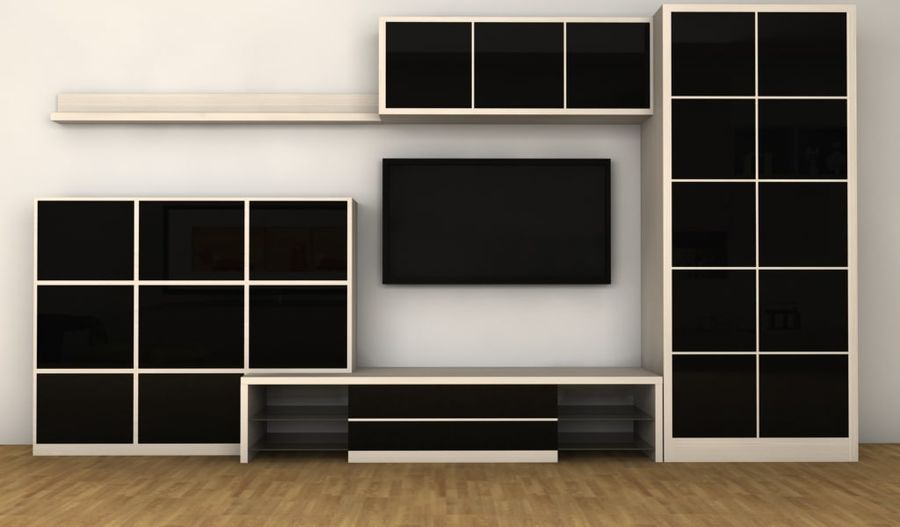 TV furniture wall royalty-free 3d model - Preview no. 1