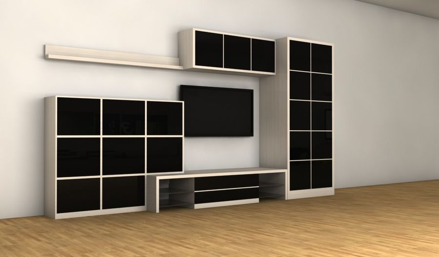 TV furniture wall royalty-free 3d model - Preview no. 3