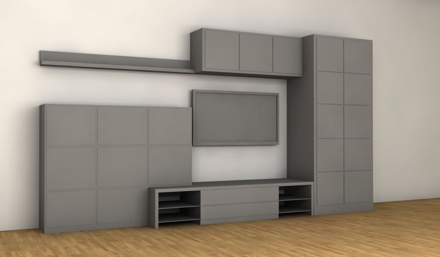 TV furniture wall royalty-free 3d model - Preview no. 5