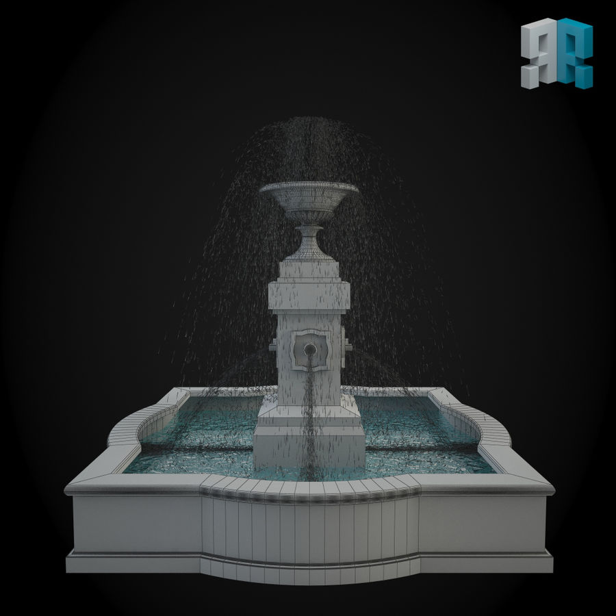 Fountain 001 royalty-free 3d model - Preview no. 2