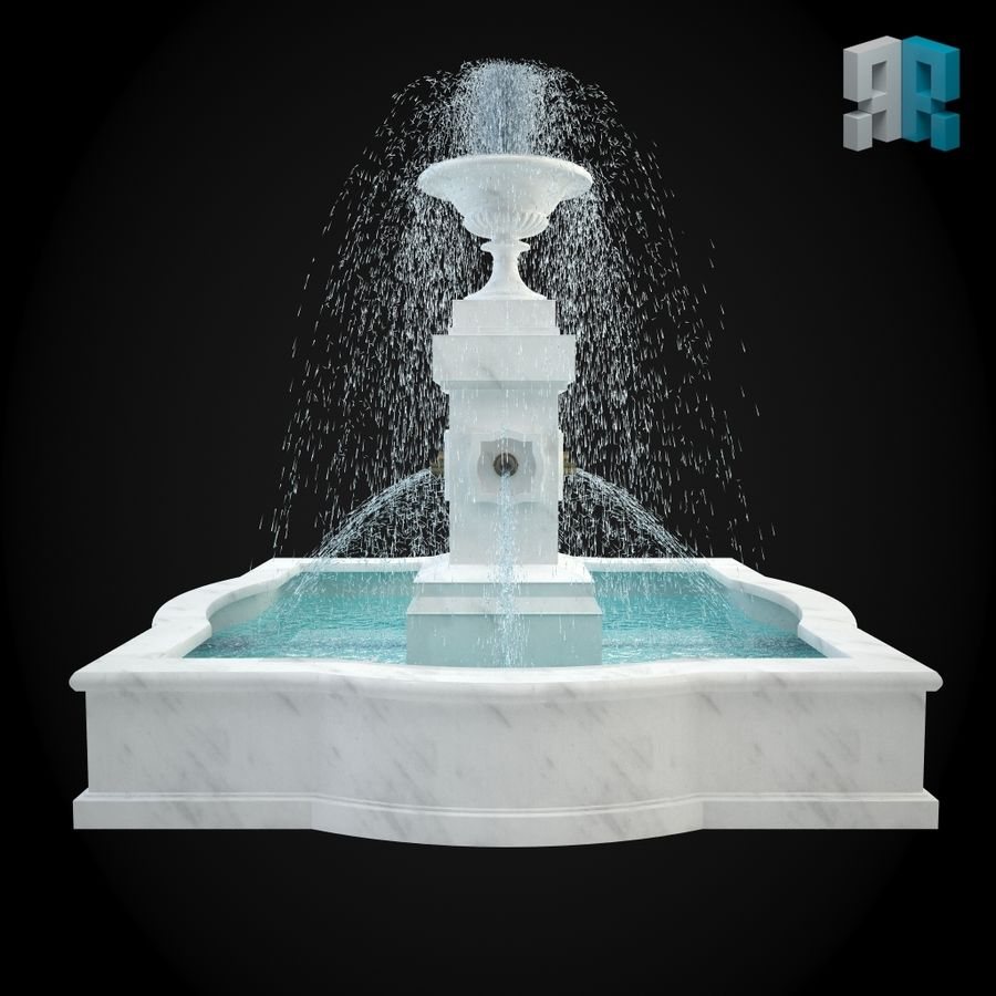 Fountain 001 royalty-free 3d model - Preview no. 3