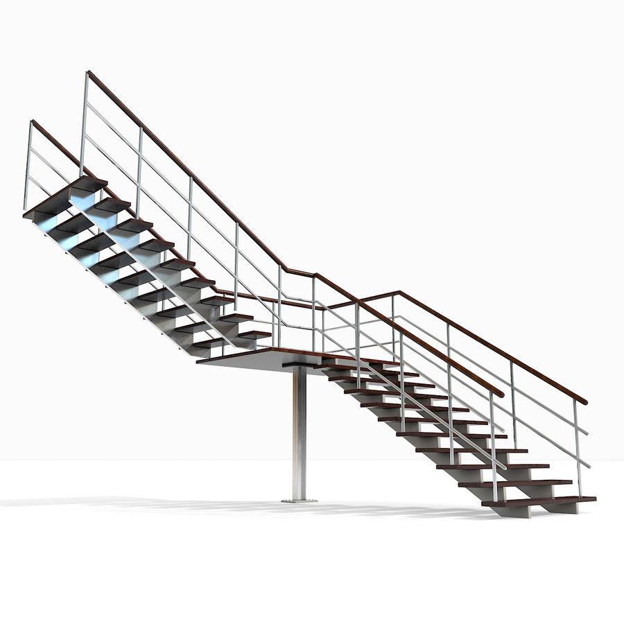 现代公寓金属木楼梯 royalty-free 3d model - Preview no. 4