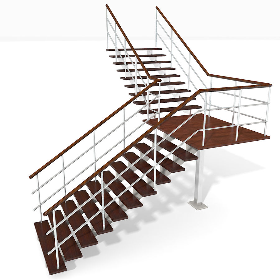 现代公寓金属木楼梯 royalty-free 3d model - Preview no. 2