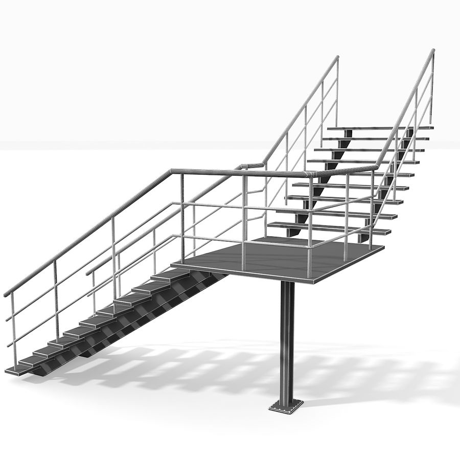 现代公寓金属木楼梯 royalty-free 3d model - Preview no. 18