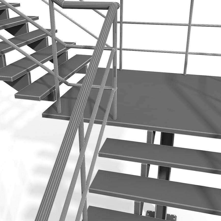 现代公寓金属木楼梯 royalty-free 3d model - Preview no. 20
