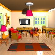 Çizgi film oturma odası iç 3d model